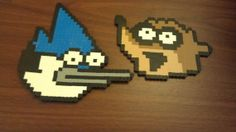 Perler bead Mordecai and Rigby Set by TwinSisterCraft