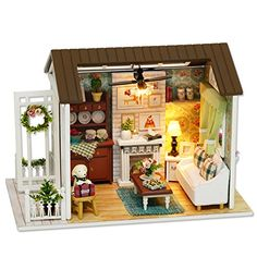 Cuteroom Dollhouse Miniature DIY Dolls House Kit Room with Furniture Handicraft Xmas gift Happy Time