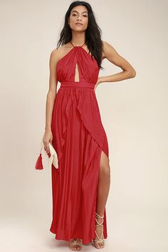 Lulus Exclusive! The On My Own Red Maxi Dress is a party perfect look all by itself! Lightweight woven poly shapes a modified halter neckline with a front keyhole, and skinny straps that crisscross and tie at back. A banded waist tops a full maxi skirt with twin side slits and a ruffled overlay. Hidden back zipper/clasp.