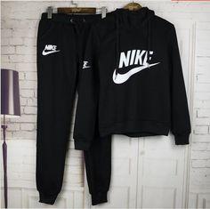 """Women Fashion """"NIKE"""" Print Hoodie Top Sweater Pants Sweatpants Set Two-Piece Sportswear Black"""