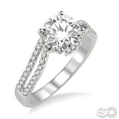 Diamond Engagement Ring with 1/2 Ct Round Cut Center Stone in 14K White Gold