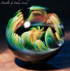 "1.57"" HANDMADE MARBLE SIGNED BY ~ETHAN LESCH~ BOROSILICATE, BORO, ART, MIB #Glass"