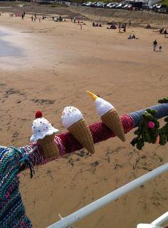 Yarn storming - Saltburn pier - yarn bombing