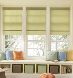Roller shades are simple and look great in the kid's play room. Cordless options to keep your kiddos safe!