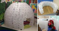 How to build an igloo without snow? In this recycling project, you can repurpose plastic milk jugs into a kids' igloo. All you need is a general idea of what you want the igloo to look like, lots of milk jugs, a hot glue gun and a bit of patience. Milk Jug Igloo, Milk Jugs, Igloo Building, Paper Mache Diy, Crochet Butterfly Free Pattern, Milk Jug Crafts, Projects For Kids, Diy Projects, Diy And Crafts
