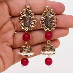 Indian Bollywood Ethnic Traditional Jewelry Oxidised Earings Jhumka GSE267MRN