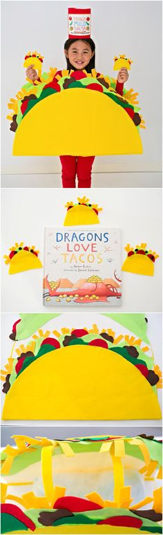 DIY Felt No-Sew Taco Costume for Kids. Inspired by the Dragons Love Tacos picture book. Check back to see how we made the dragon! Cute no-sew Halloween costume for kids.
