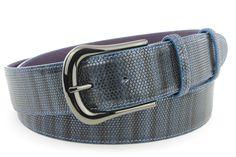Dark denim metallic lizard gunmetal belt, £120.00