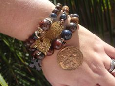 Artisan Medallion Bracelet Sparrow Bracelet Fall by FeminineGenius