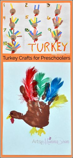 Turkey Crafts for Preschoolers: incorporates fine motor, cutting, gluing, counting, & tracing