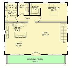 Plan 3 Car Modern Carriage House Plan With Sun Deck Garage Apartment Floor Plans, Garage Floor Plans, House Floor Plans, Garage Apartments, Craftsman House Plans, Modern House Plans, Small House Plans, Modern Garage, Garage House