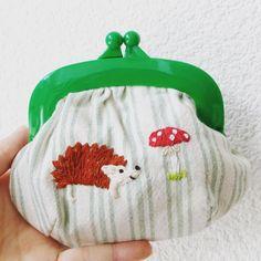 ハリネズミさん  #coinpurse #embroidery #刺繍 #手刺繍 #がまぐち #がま口 #pandafactory #handmade #ハンドメイド #hedgehog #ハリネズミ