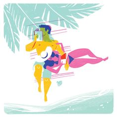 Print Couple reading on the beach giclee por CarolinaBuzio en Etsy