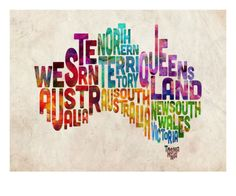 Australia Text Map Premium Giclee Print by Michael Tompsett at Art.com