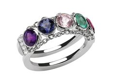 Chaumet ABC ring in white gold and diamonds, with amethyst, iolite, morganite, emerald and rhodolite spelling out 'aimer'.
