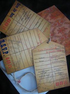 Vintage boarding pass invitation