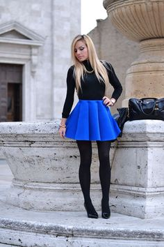 Skirt Outfits Blue Fashion Looks 18 Ideas Blue Skirt Outfits, Skater Skirt Outfit, Girl Outfits, Fashion Outfits, Skater Skirts, Outfits 2016, Club Outfits, Sexy Outfits, Fashion Tights