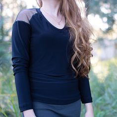 This long sleeve shirt has breathable shoulders made with net. This shirt has a V- neckline. Great to pair with jeans and boots. Shirt Sleeves, Long Sleeve Shirts, Jeans And Boots, Tops, Fashion, Moda, Fashion Styles, Fasion