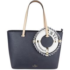 Kate Spade New York Francis Leather Life Preserver Tote (985 RON) ❤ liked on Polyvore featuring bags, handbags, tote bags, multi colored, kate spade handbag, zip top tote, white tote bag, white leather tote and handbag tote