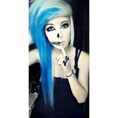 Blue Emo Hair Color ❤ liked on Polyvore featuring beauty products, haircare, hair color and hair