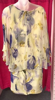 Mon Cheri Size 18 Dress Mother of the Bride Cruise Gala Easter Ebay Dresses, Fitted Skirt, Wedding Jewelry Sets, Mon Cheri, Sheer Fabrics, Yellow Dress, Mother Of The Bride, Floral Tops, Easter