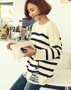 Plain Yoke Stripe Pullover