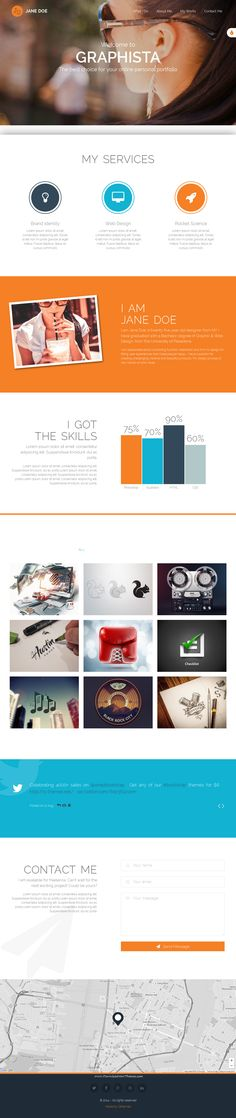 Graphista is a beautiful one-page personal portfolio #template. It is the perfect solution for Web Designers, Graphic Designers and any kind of creative people. Graphista is built on #Bootstrap v3.3 and packed with great features. It makes use of modern jQuery and CSS3 techniques to create superb eye-catching animations and make your visitors love you and your work. It is simple, modern and responsive. #website