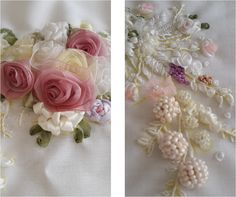 kurdele nakışı - çiçekler ribbonwork- flowers