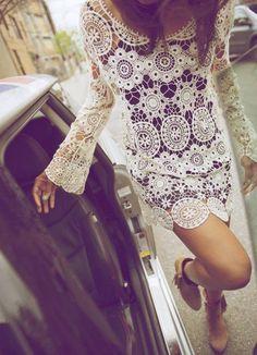 Fall Winter 2013 Crochet Lace Dress