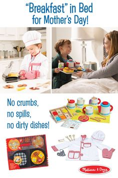 What's better than breakfast in bed? Pretend breakfast in bed! All the pampering, none of the mess. With the Melissa & Doug tea, waffle, and Chef sets, a lavish breakfast can be made to order. A great way to spend Mother's Day morning.