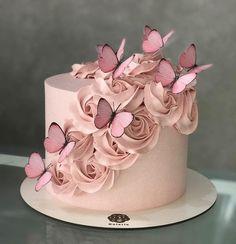 79 Amazing cake inspiration for special celebration - birthday cake ideas, celebration cakes Butterfly Birthday Cakes, Birthday Cake With Flowers, Butterfly Cakes, Birthday Cake Girls, Flower Cakes, Cake With Butterflies, Birthday Cake Designs, Makeup Birthday Cakes, Cake Designs For Girl