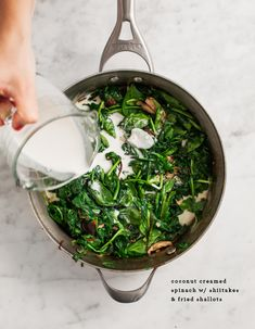 Coconut Creamed Spinach - But, use arrowroot starch in place of corn starch and coconut oil (or ghee) in place of canola oil. More real food recipes at www.pilatesnutritionist.com