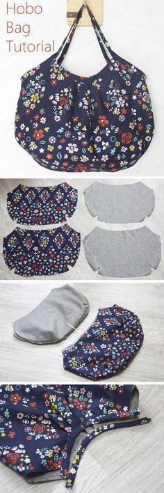 Tutorial ✂ Reversible Hobo Tote Bag. How to sew DIY Picture Tutorial. http://www.handmadiya.com/2015/11/hobo-bag-tutorial.html
