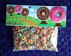 """Donut Seeds"" - page includes free printable labels. Great idea for the letter ""D"" for kindergarden and preschool classes."