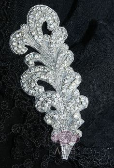 Beaded Glass Crystal Rhinestone Wedding Craft Veil Headband Embroided Applique | eBay