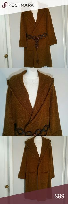 """Soft Surroundings Cardigan Sweater Sz M Duster Soft Surroundings  long open front cardigan heavier Brown sweater adds romantic tapestry flare to keeping cozy! Sweater Coat from Label Noir Collection: Rolled Cuffed Sleeve Hem, Fold over Shawl Collar Size Misses M / Medium 13% wool  81% polyester  6% mohair exclusive of decoration. Antique-inspired floral and pastoral tapestry applique on back. Measurements Pit to pit 27"""" Arm 28"""" Length 42"""" Soft Surroundings Sweaters Cardigans"""