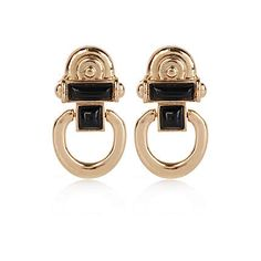 Outfit number 2 - gold tone and black door knocker earrings #baroque #style #Elle #RiverIsland