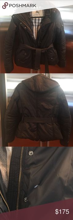 Burberry Puffer Jacket Black Burberry puffer jacket. Lightly worn, two tears as pictured (inner sleeve and front of jacket). Willing to negotiate price. Pet free smoke free home Burberry Jackets & Coats Puffers