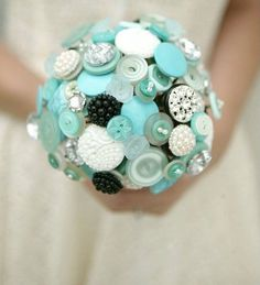 Tiffany Blue Button Bouquet