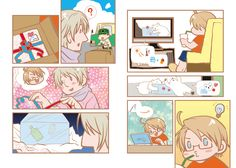Greetings - A Fine Pair in Summer Waiting For Spring! by べにフス - Hetalia - America / Russia  ;) Alfred's such a cute and geeky flirt!