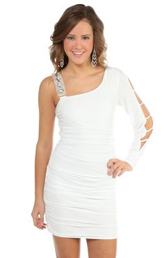 d285579b988aa one shoulder long sleeved stone accent tight club dress