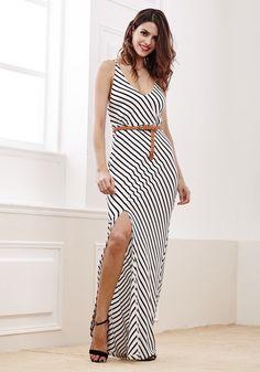 Diagonal Stripe Side Slit Dress