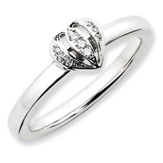 Stackable Expressions Sterling Silver Diamond Heart Ring.  #QSK1065.  Sale Priced At Only $65!  Sizes 5-6-7-8-9-10.
