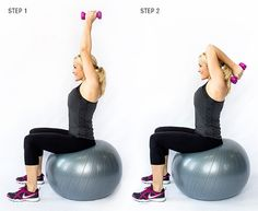 brooke griffin doing a triceps extension on stability ball blast the arm fat