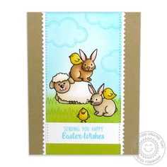 Sunny Studio Stamps: Easter Wishes Sheep, Bunny & Chick Card by Mendi Yoshikawa