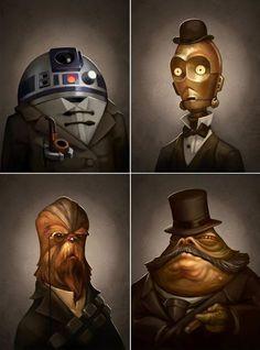Star Wars portraits.  Chewbacca looks so distinguished!