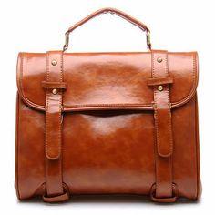Faux leather flap satchel