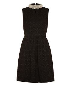 Look what I found on #zulily! Iska London Black Pearl Embellished Mock Neck Dress by Iska London #zulilyfinds