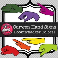 Curwen Hand Sign Clip Art in Boomwhacker Colors