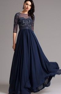 f7d9bd122c Empire Floor-Length Bateau 3 Empire Chiffon Beading Zipper Dress - Dorris  Wedding